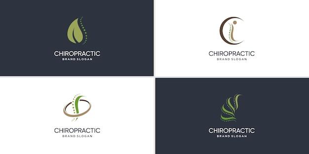 Chiropractie logo met modern creatief concept premium vector