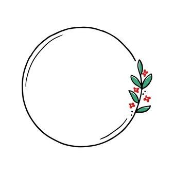 Chirrtmas bloemenframe met cirkel, ronde vorm. doodle hand getrokken stijl krans frame. vectorillustratie voor kerstmis, bruiloft decoratie.