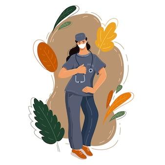 Chirurg arts in uniform houdt stethoscoop. dokter vrouw. dokter in hoed en masker. geneeskunde en gezondheidszorg. medische mensen. ziekenhuispersoneel. vlakke stijl illustratie