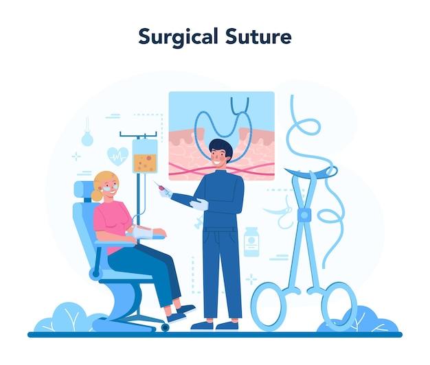 Chirurg concept. arts die medische verrichtingen uitvoert.