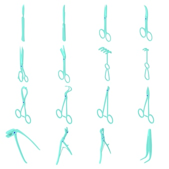 Chirurgen gereedschappen pictogrammen instellen. isometrische illustratie van 16 vectorpictogrammen van chirurgenhulpmiddelen voor web