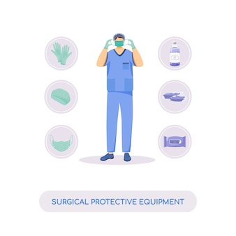Chirurgische beschermingsmiddelen platte concept illustratie. medisch masker, handschoenen en antiseptica. verpleegkundige, chirurg 2d stripfiguur voor webdesign. desinfectie en steriliteit creatief idee