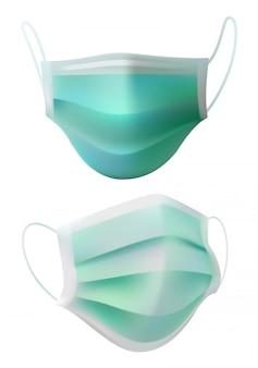 Chirurgische maskers op wit. medische benodigdheden voor ontwerplay-out.