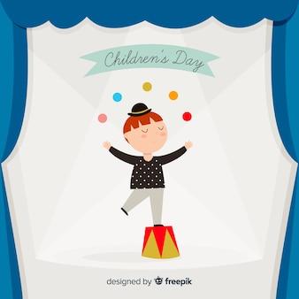 Chldren's dag jongleerend jongen achtergrond