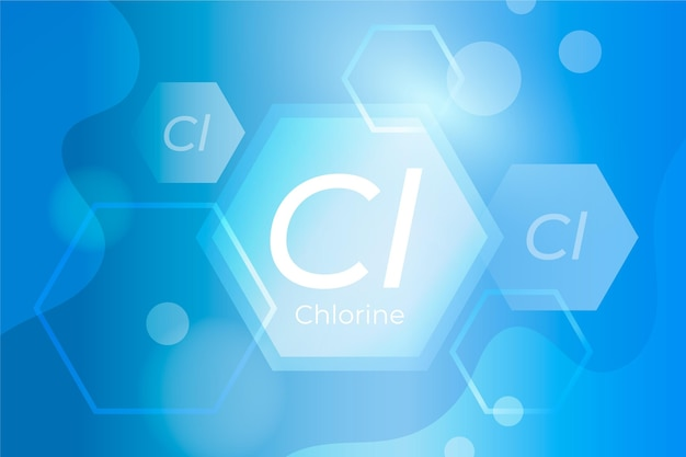 Chloor achtergrond met afkorting van chloor