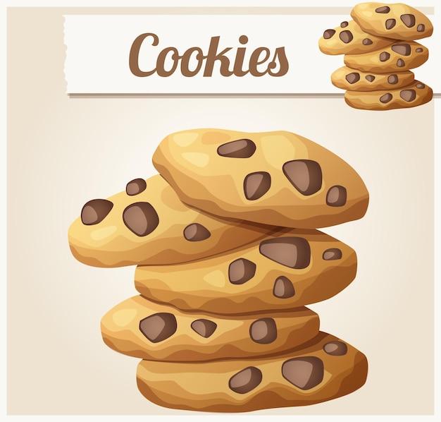 Choc chip cookies gedetailleerde vector icon