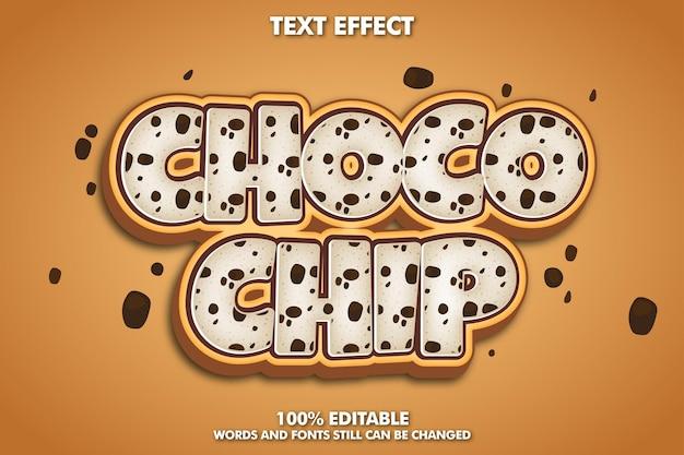 Choco chip bewerkbaar teksteffect dor cake en bakey sticker cookie teksteffect