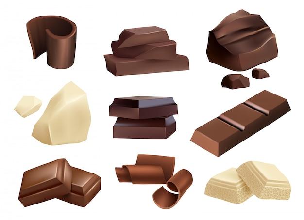 Chocola. snoepjes dessert delen van zwarte en witte chocolade realistische collectie