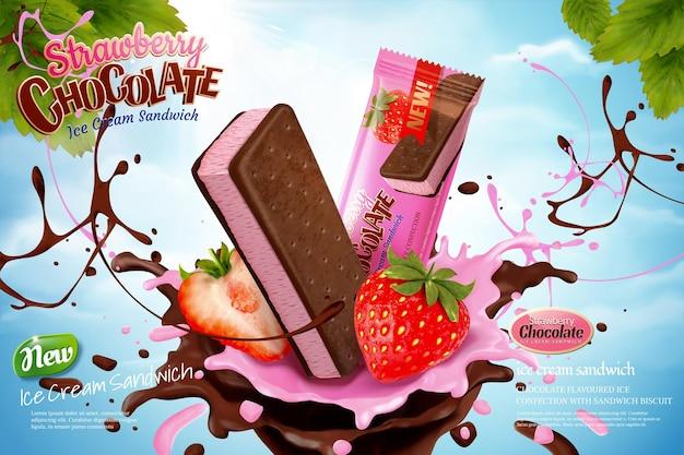 Chocolade aardbei-ijs advertenties met wervelende saus op blauwe hemelachtergrond in 3d illustratie Premium Vector