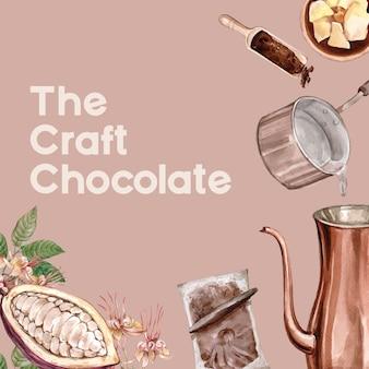 Chocolade aquarel ingrediënten chocolade bakkerij, ei, boter, illustratie maken