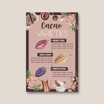Chocolade aquarel met cacaotak bomen, infographic