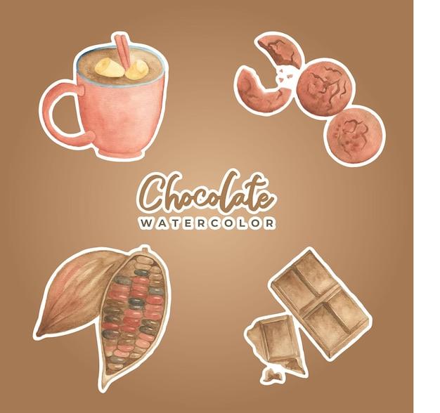 Chocolade aquarel sticker