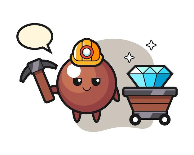 Chocolade bal cartoon als mijnwerker