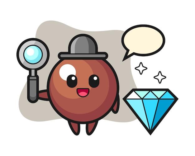 Chocolade bal cartoon met een diamant