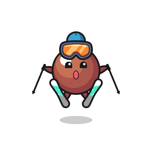 Chocolade bal mascotte karakter als ski-speler