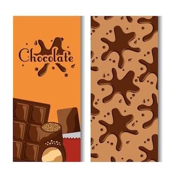Chocolade bar en splash snoep banners