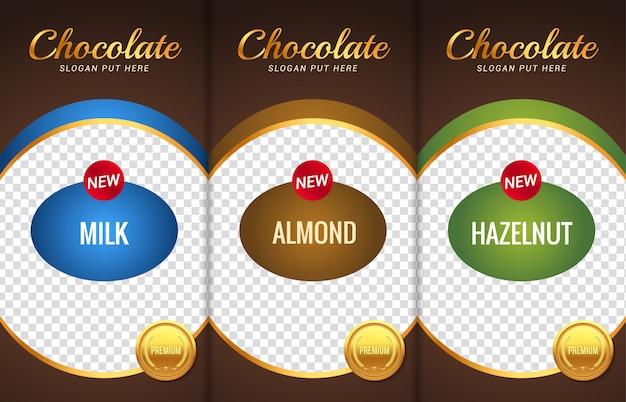 Chocolade bar verpakking sjabloonontwerp