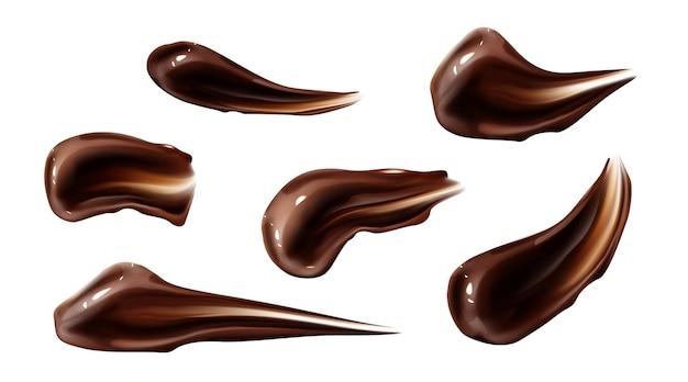 Chocolade beroertes bruine vloeibare ganache-uitstrijkjes
