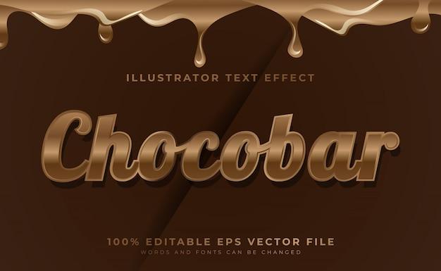 Chocolade bewerkbare tekststijl effect lettertype
