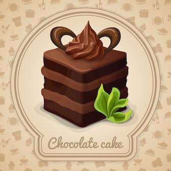 Chocolade cake illustratie