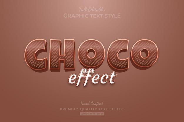 Chocolade cartoon bewerkbare premium tekst effect lettertype stijl