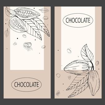 Chocolade concept. set sjablonen voor verpakking, flyer, banner, menu met cacaobonen. gegraveerde stijl.