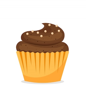 Chocolade cupcake op wit