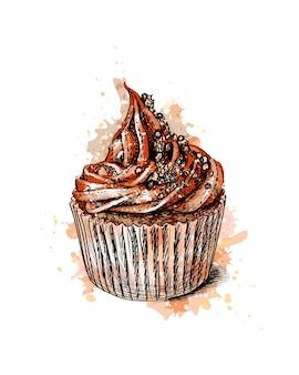 Chocolade cupcake uit een scheutje aquarel, hand getrokken schets. illustratie van verven