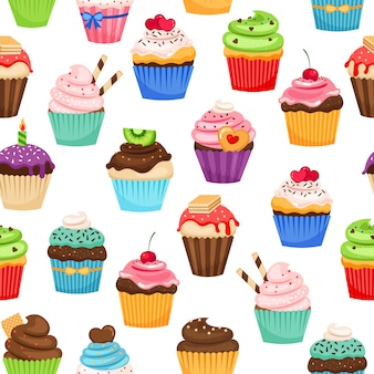 Chocolade cupcakes met pralines en kersen vector naadloze patroon voor vakantie cadeau decoratie