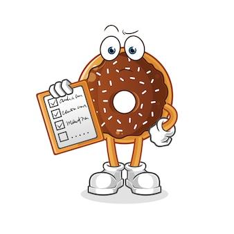 Chocolade donut schema lijst. stripfiguur