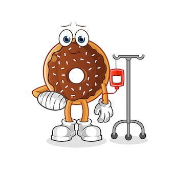 Chocolade donut ziek in iv illustratie. karakter