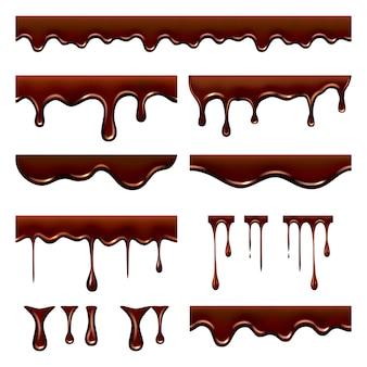 Chocolade droop. zoet stromend vloeibaar voedsel met spatten en druppels karamel cacao realistische foto's
