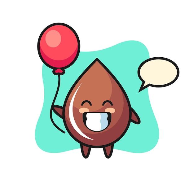 Chocolade druppel mascotte illustratie speelt ballon, schattig stijlontwerp voor t-shirt, sticker, logo-element