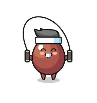 Chocolade ei karakter cartoon met springtouw, schattig design
