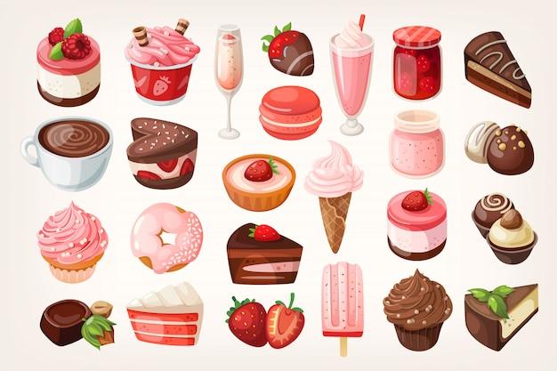 Chocolade en aardbeidesserts