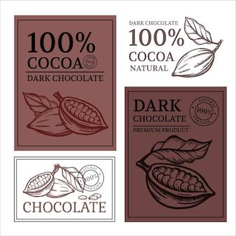 Chocolade en cacao ontwerp van stickers en etiketten