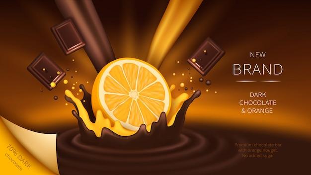 Chocolade en sinaasappel vallen in splash