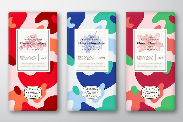 Chocolade etiketten instellen abstract vector verpakking ontwerp lay-outs collectie moderne typografie hand tekenen...