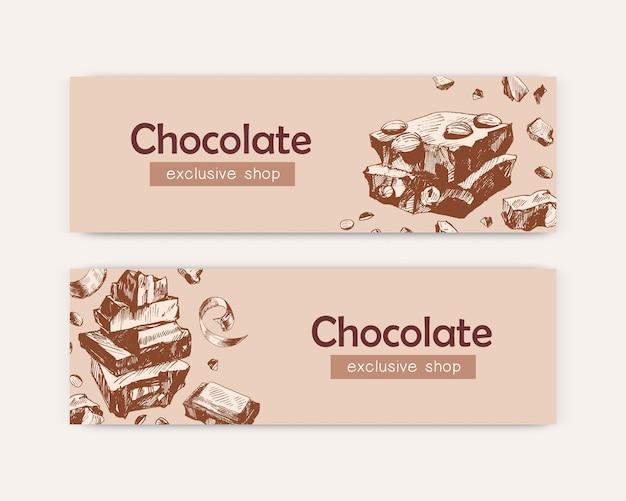 Chocolade exclusieve winkel banner sjablonen set
