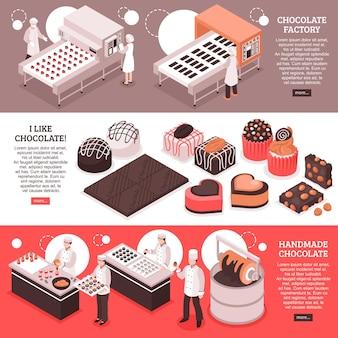 Chocolade fabricage isometrische banners met geautomatiseerde fabriek transportbanden mensen op de werkplek en handgemaakte zoete productie