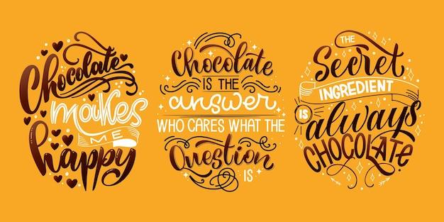 Chocolade hand belettering citaten set kleurrijke kerst woord samenstelling vector ontwerpelementen voor