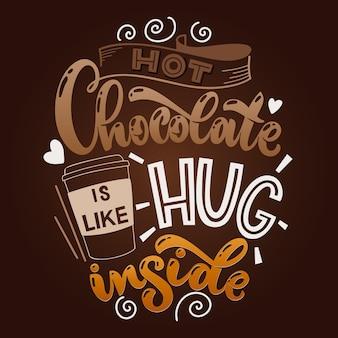Chocolade hand belettering citeer kleurrijke kerst winter woord samenstelling vector ontwerpelementen