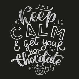 Chocolade hand belettering krijt offerte. kerst winter woord composirion. vectorontwerpelementen voor t-shirts, tassen, posters, kaarten, stickers en menu