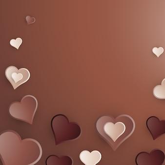 Chocolade harten achtergrond 3d illustratie. lichte melk en pure chocolaatjes voor valentijnsdag