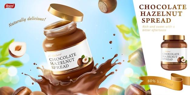 Chocolade hazelnoot verspreid advertenties met spatten vloeistof op bokeh glitter natuur achtergrond in 3d illustratie Premium Vector