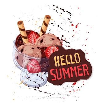 Chocolade-ijs in glazen beker versierd met aardbeien