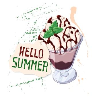 Chocolade-ijs in glazen beker versierd met munt