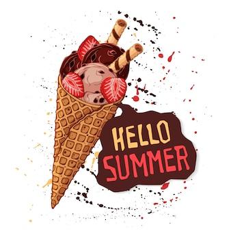 Chocolade-ijs in wafel kegels versierd met aardbeien