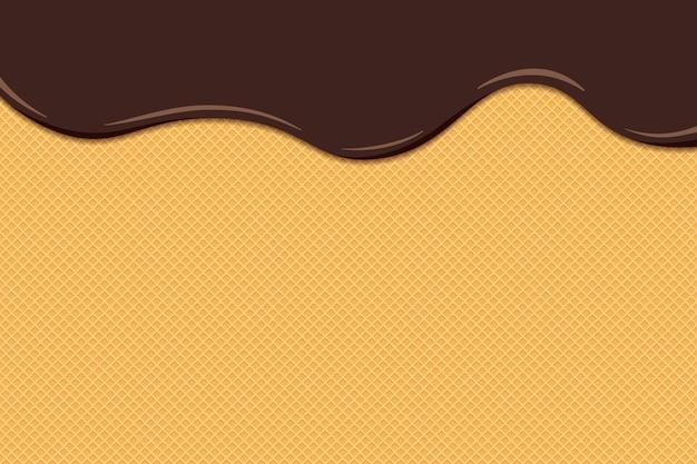 Chocolade-ijs smelt en vloeit op het geroosterde wafeloppervlak. geglazuurde wafel textuur zoete cake achtergrond. vector platte eps illustratie