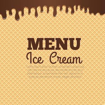 Chocolade-ijs stroomt over de achtergrond van de wafel textuur